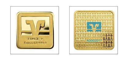Volksbank-Barren<br />1 Unze (31,1 g) Feingold, Feinheit: 999,9