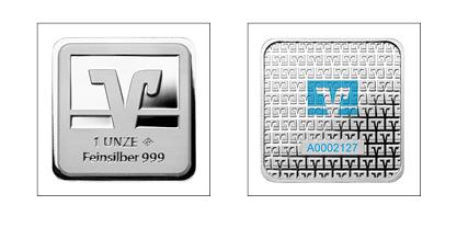 Volksbank-Barren<br />1 Unze (31,1 g) Feinsilber, Feinheit: 999